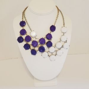 2 pc, statement necklace, jewelry, purple, beaded